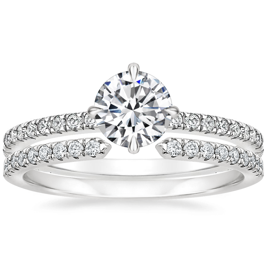 18K White Gold Polaris Diamond Ring with Sia Diamond Ring (1/8 ct. tw.)
