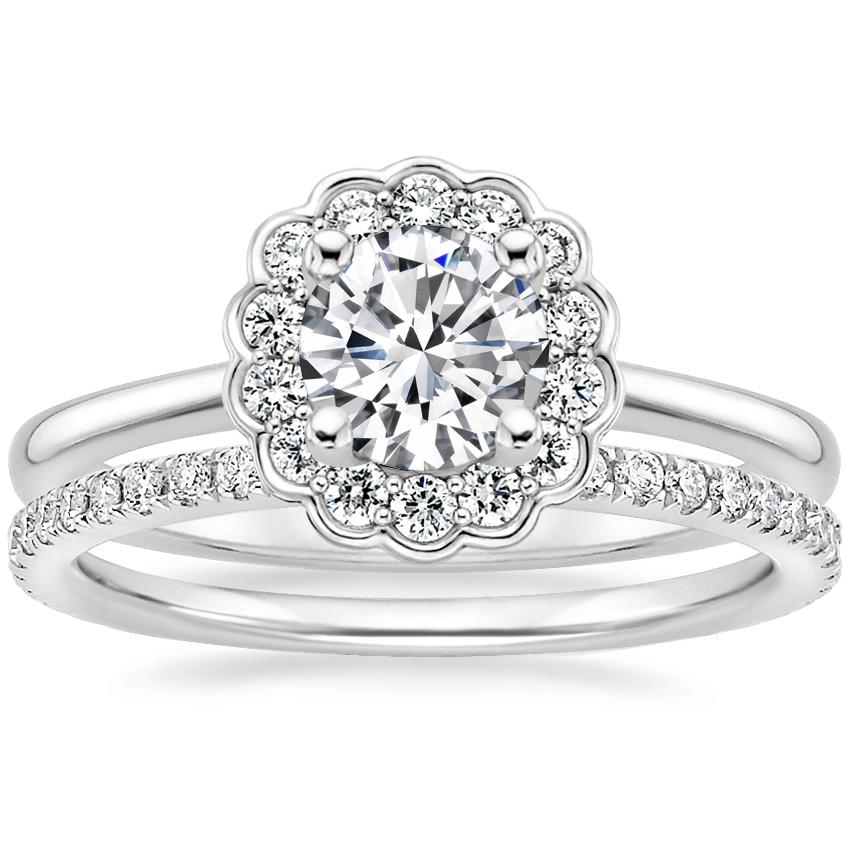 18K White Gold Violette Diamond Ring with Luxe Ballad Diamond Ring (1/4 ct. tw.)
