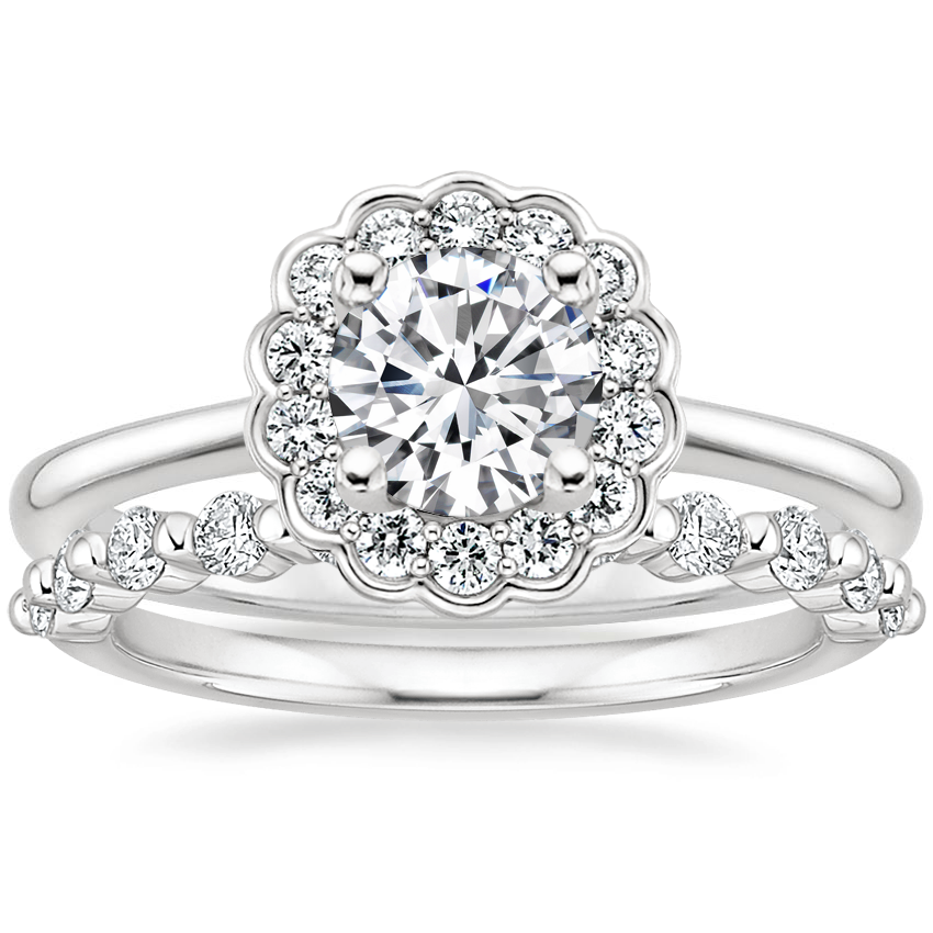18K White Gold Violette Diamond Ring with Marseille Diamond Ring (1/3 ct. tw.)