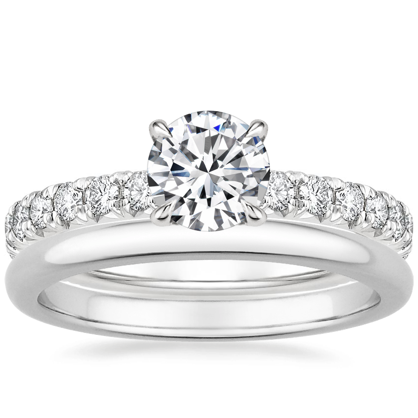 18K White Gold Olympia Diamond Ring with 2mm Comfort Fit Wedding Ring