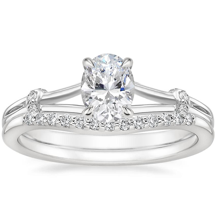 18K White Gold Odelia Diamond Ring with Petite Curved Diamond Ring