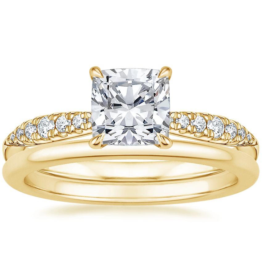 18K Yellow Gold Emmeline Diamond Ring with Petite Comfort Fit Wedding Ring