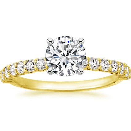 18K Yellow Gold Shared Prong Diamond Ring, top view