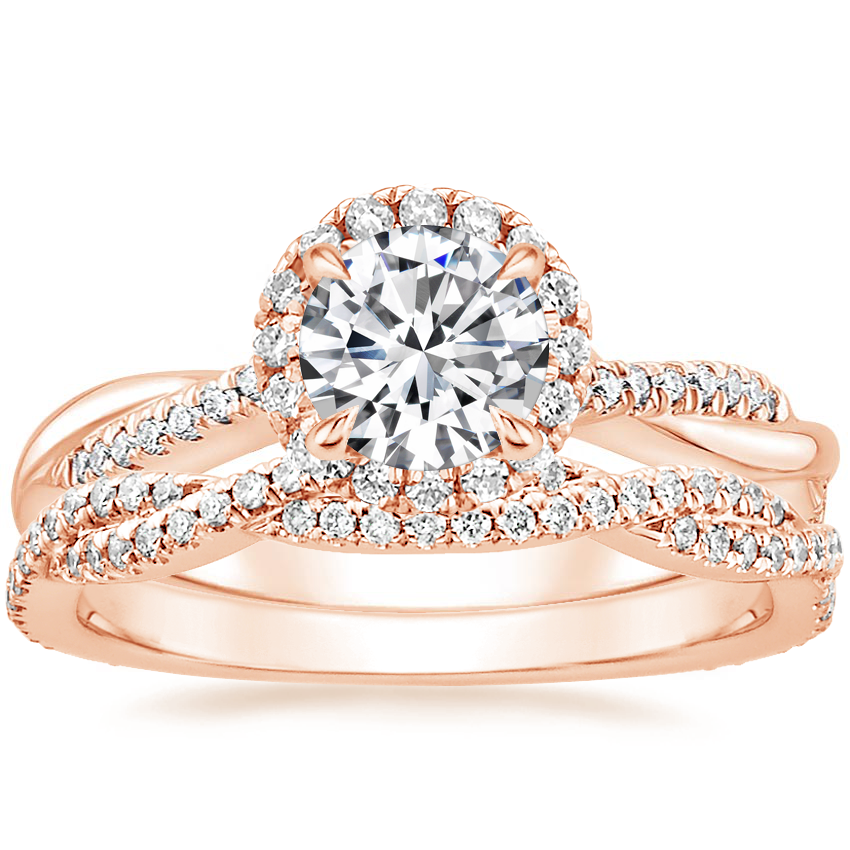 14K Rose Gold Monroe Diamond Ring with Petite Luxe Twisted Vine Diamond Ring (1/4 ct. tw.)