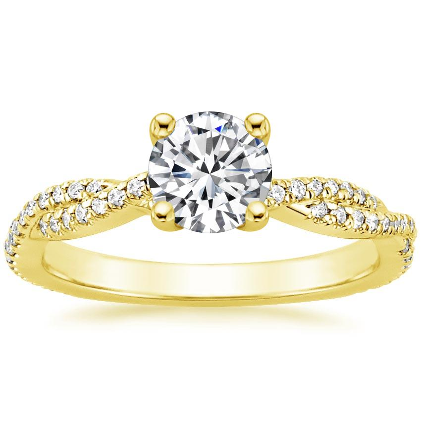 Round 18K Yellow Gold Petite Luxe Twisted Vine Diamond Ring (1/4 ct. tw.)