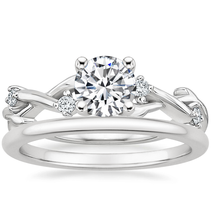 Platinum Liana Diamond Ring with Petite Comfort Fit Wedding Ring