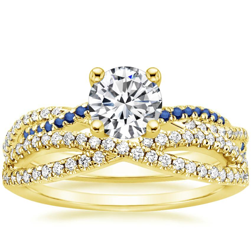 18K Yellow Gold Petite Luxe Twisted Vine Sapphire and Diamond Ring with Entwined Diamond Ring (1/4 ct. tw.)
