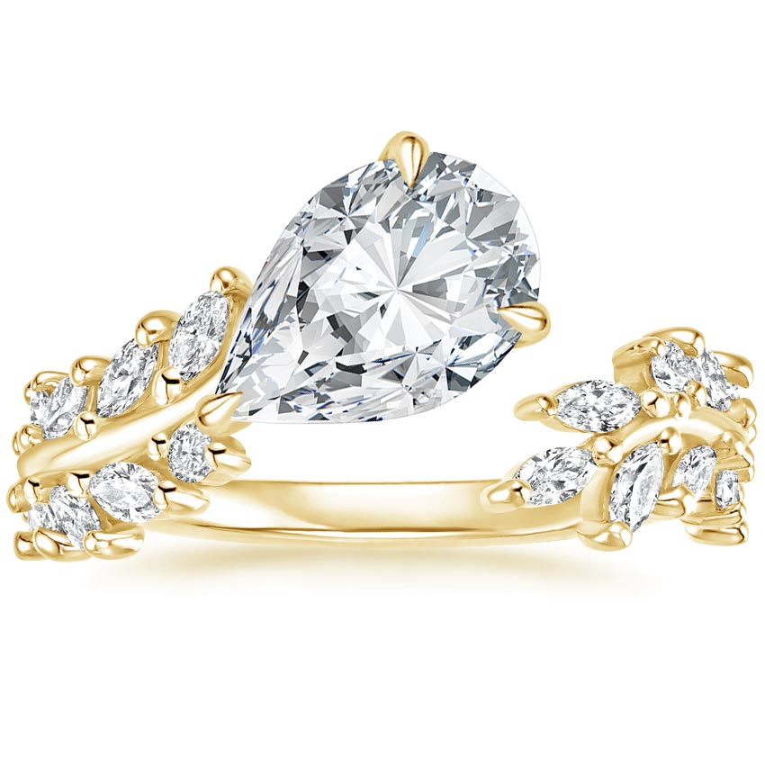 Pear 18K Yellow Gold Sweeping Ivy Diamond Ring (1/2 ct. tw.)