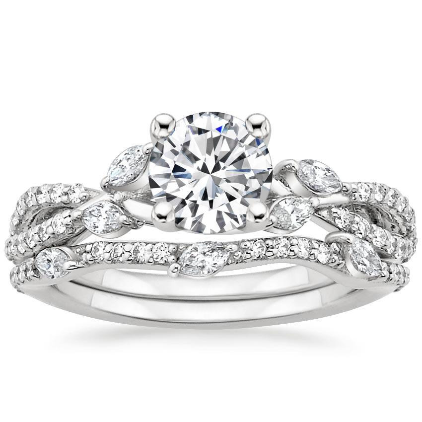 18K White Gold Luxe Willow Bridal Set (1/2 ct. tw.), top view