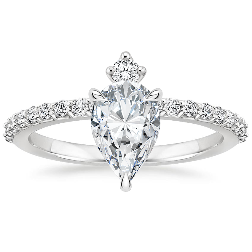 Pear Accented Compass Set Engagement Ring