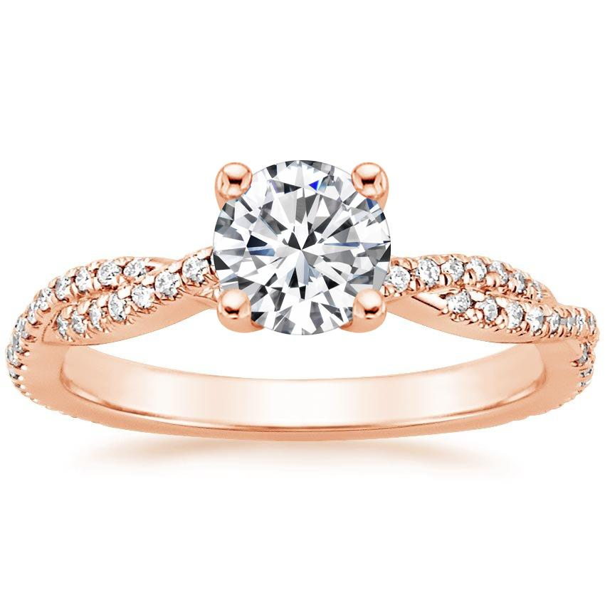Round 14K Rose Gold Petite Luxe Twisted Vine Diamond Ring (1/4 ct. tw.)