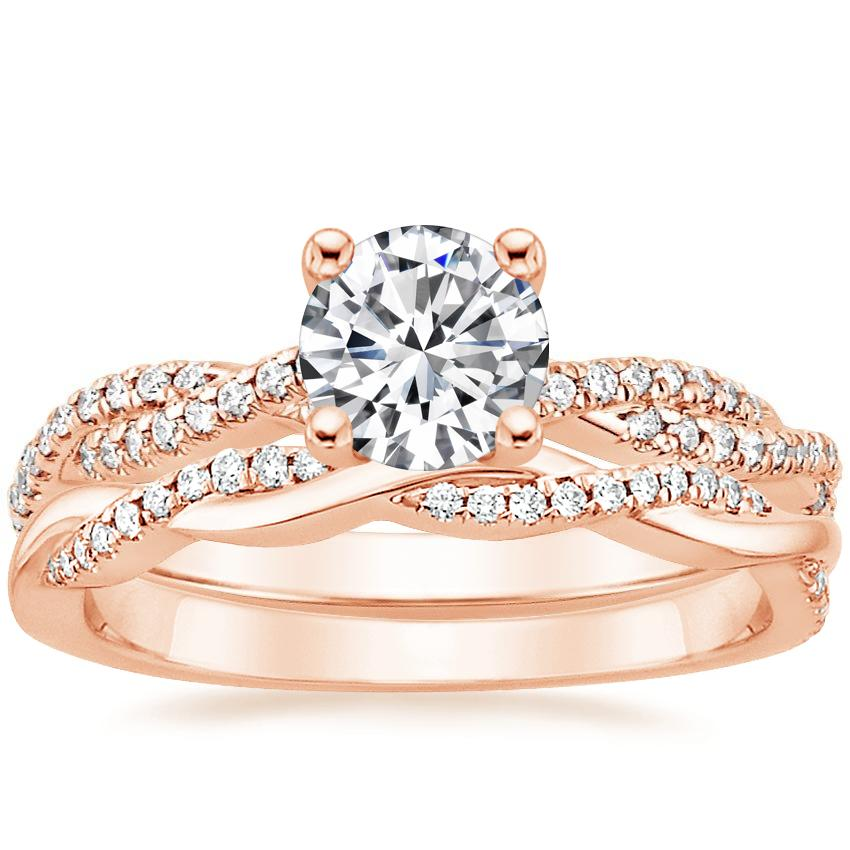 14K Rose Gold Petite Luxe Twisted Vine Diamond Ring (1/4 ct. tw.) with Petite Twisted Vine Diamond Ring (1/8 ct. tw.)