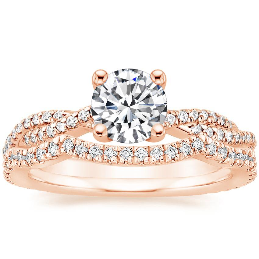 14K Rose Gold Petite Luxe Twisted Vine Diamond Ring (1/4 ct. tw.) with Petite Twisted Vine Contoured Diamond Ring (1/5 ct. tw.)