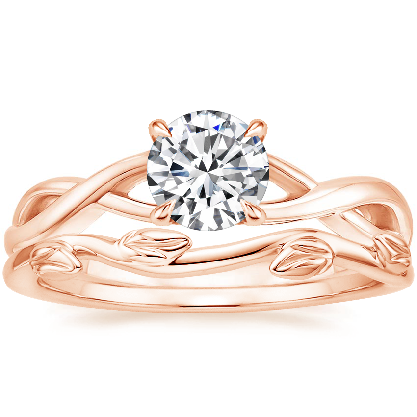 14K Rose Gold Eden Diamond Ring with Winding Willow Ring