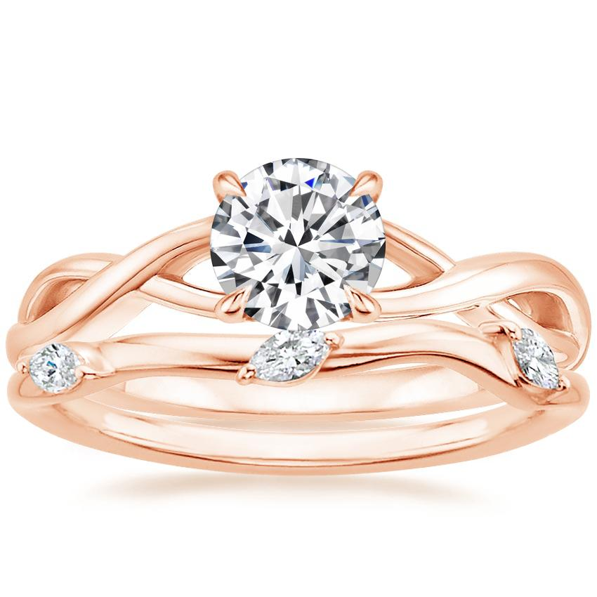 14K Rose Gold Eden Diamond Ring with Willow Contoured Diamond Ring (1/10 ct. tw.)