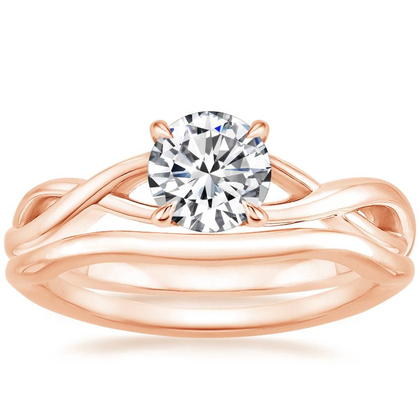 14K Rose Gold Eden Diamond Ring with Budding Willow Contoured Ring