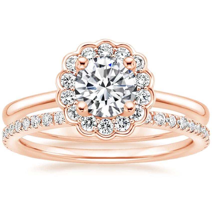 14K Rose Gold Violette Diamond Ring with Luxe Ballad Diamond Ring (1/4 ct. tw.)
