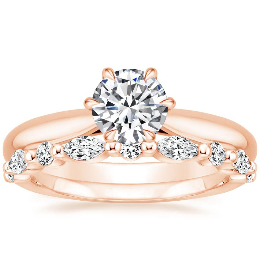 14K Rose Gold Catalina Ring with Versailles Diamond Ring (2/5 ct. tw.)