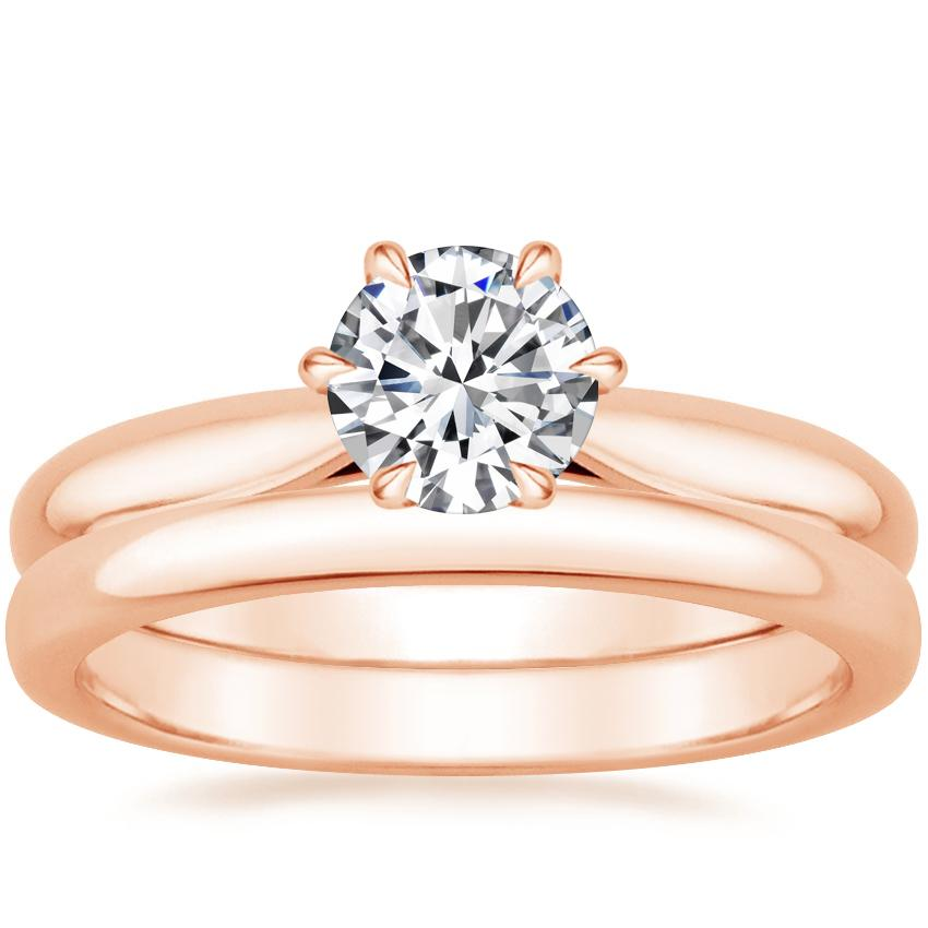 14K Rose Gold Catalina Ring with 2.5mm Comfort Fit Wedding Ring