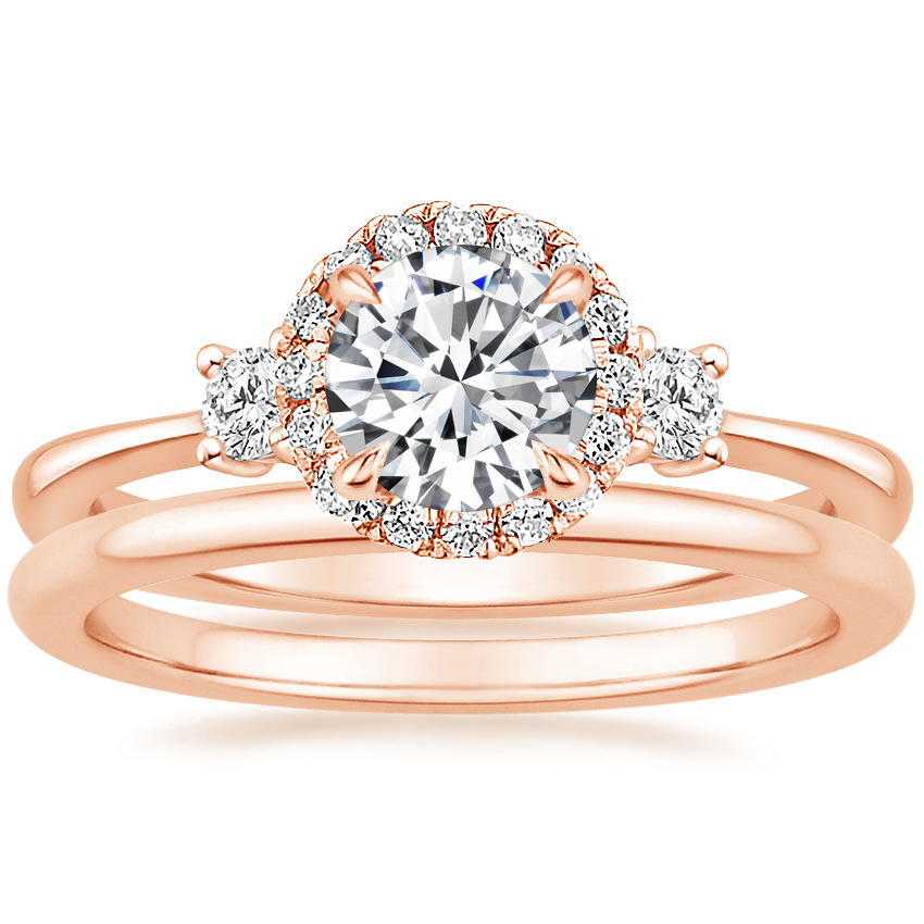 14K Rose Gold Selene Halo Diamond Ring (1/4 ct. tw.) with Petite Comfort Fit Wedding Ring