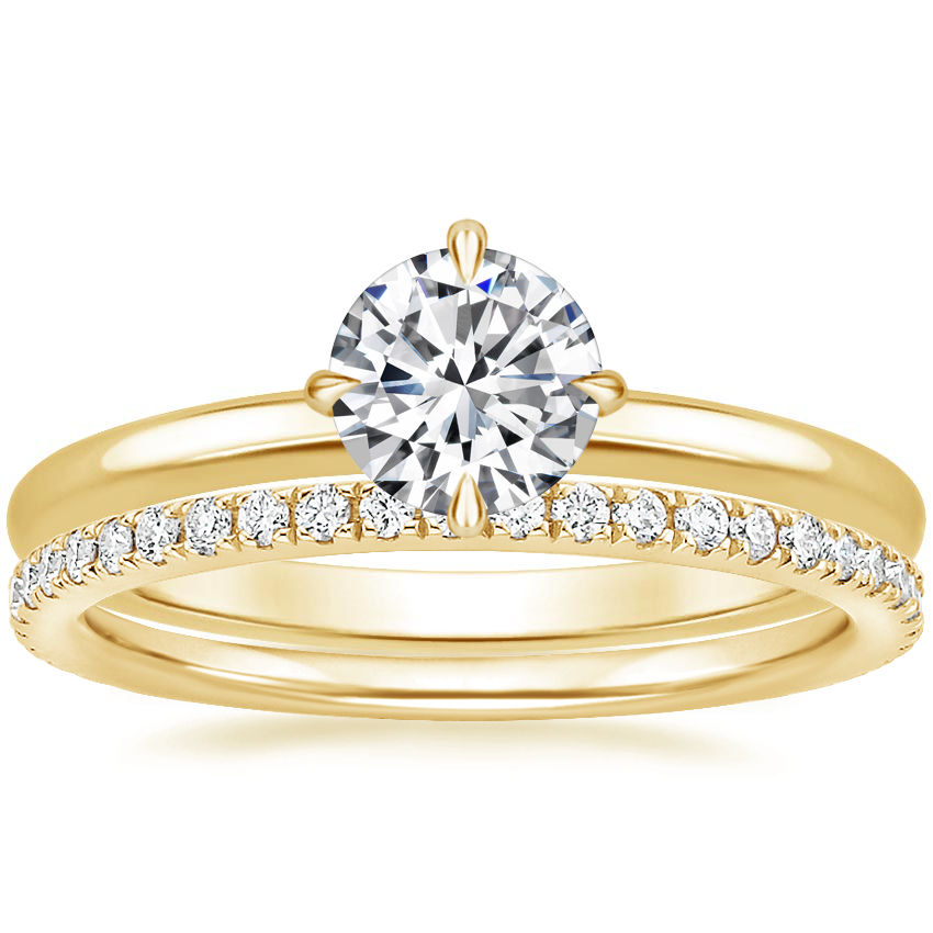 18K Yellow Gold North Star Ring with Luxe Ballad Diamond Ring (1/4 ct. tw.)