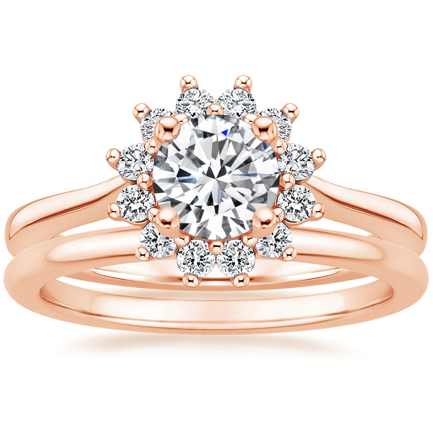 14K Rose Gold Sunburst Diamond Ring (1/4 ct. tw.) with Petite Comfort Fit Wedding Ring
