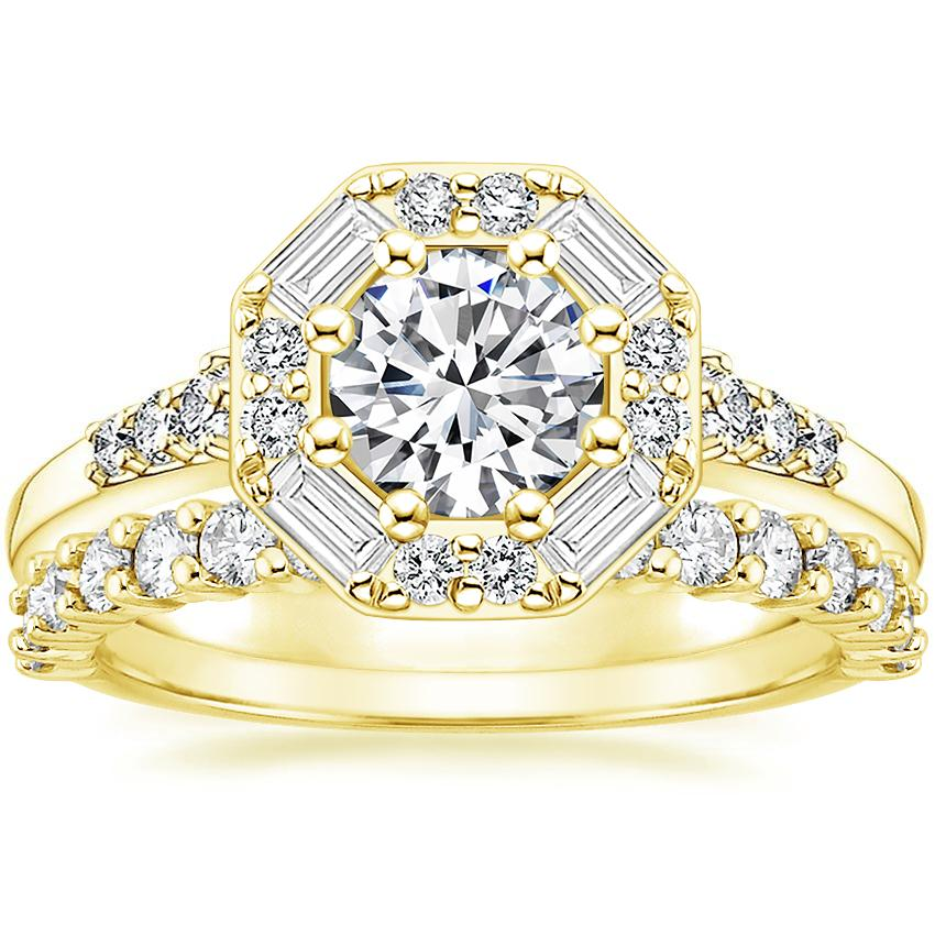 18K Yellow Gold Octavia Diamond Ring with Shared Prong Diamond Ring (2/5 ct. tw.)
