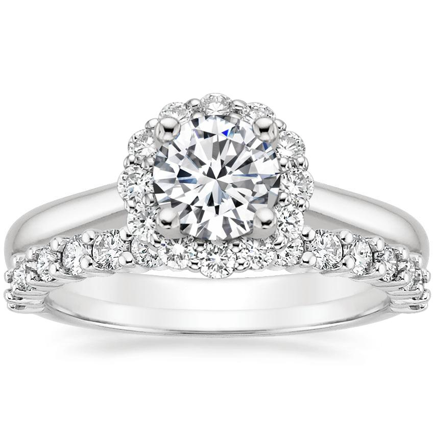 Platinum Lotus Flower Diamond Ring (1/3 ct. tw.) with Shared Prong Diamond Ring (2/5 ct. tw.)
