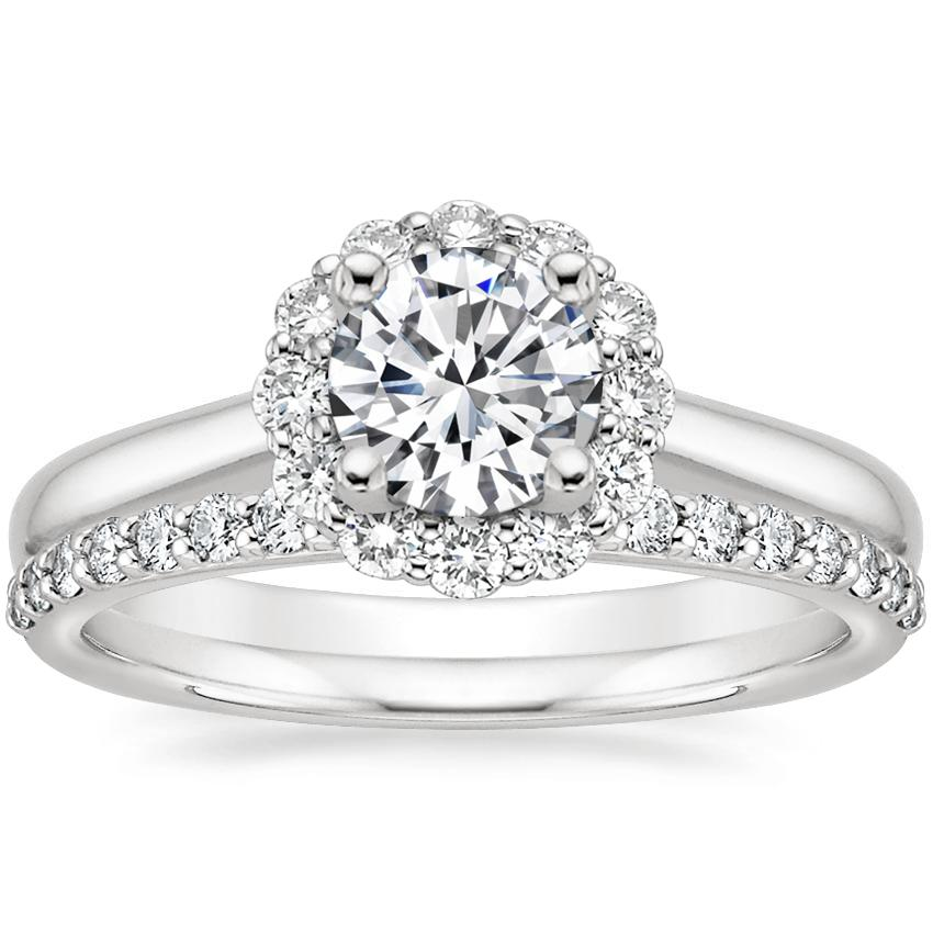 18K White Gold Lotus Flower Diamond Ring (1/3 ct. tw.) with Petite Shared Prong Diamond Ring (1/4 ct. tw.)