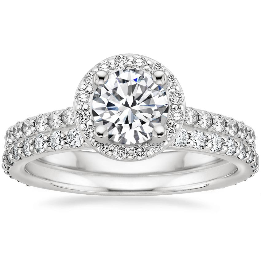 18K White Gold Halo Diamond Ring with Side Stones (1/3 ct. tw.) with Petite Shared Prong Eternity Diamond Ring (1/2 ct. tw.)