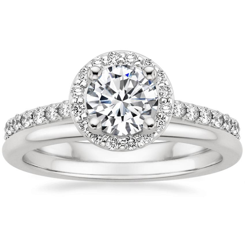 18K White Gold Halo Diamond Ring with Side Stones (1/3 ct. tw.) with Petite Comfort Fit Wedding Ring