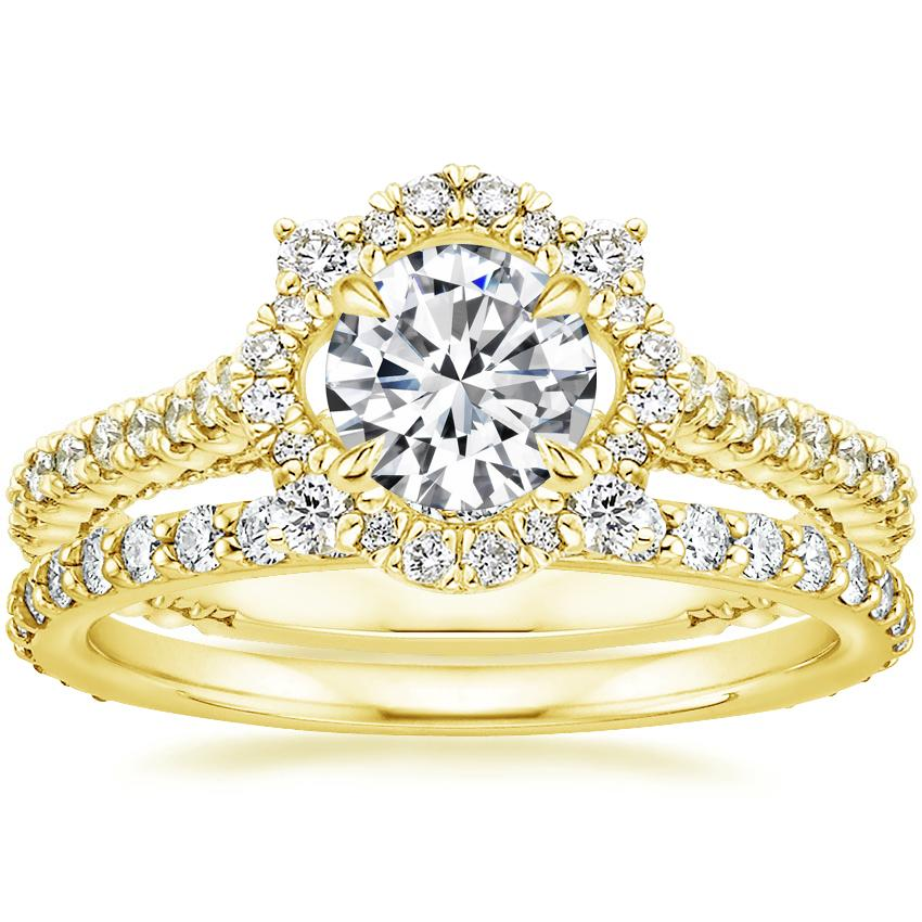 18K Yellow Gold Fleur Halo Diamond Ring with Petite Shared Prong Eternity Diamond Ring (1/2 ct. tw.)