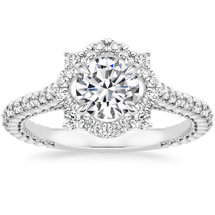 Round Floral Halo Diamond Ring