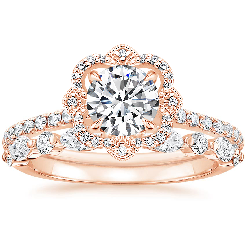 14K Rose Gold Reina Diamond Ring with Versailles Diamond Ring (3/8 ct. tw.)
