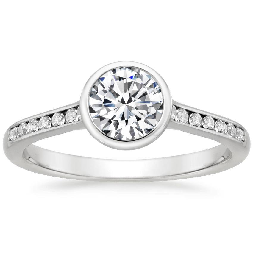 18K White Gold Luxe Luna Diamond Ring, top view