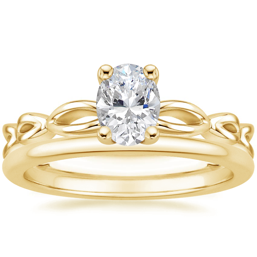 18K Yellow Gold Unity Ring with Petite Comfort Fit Wedding Ring