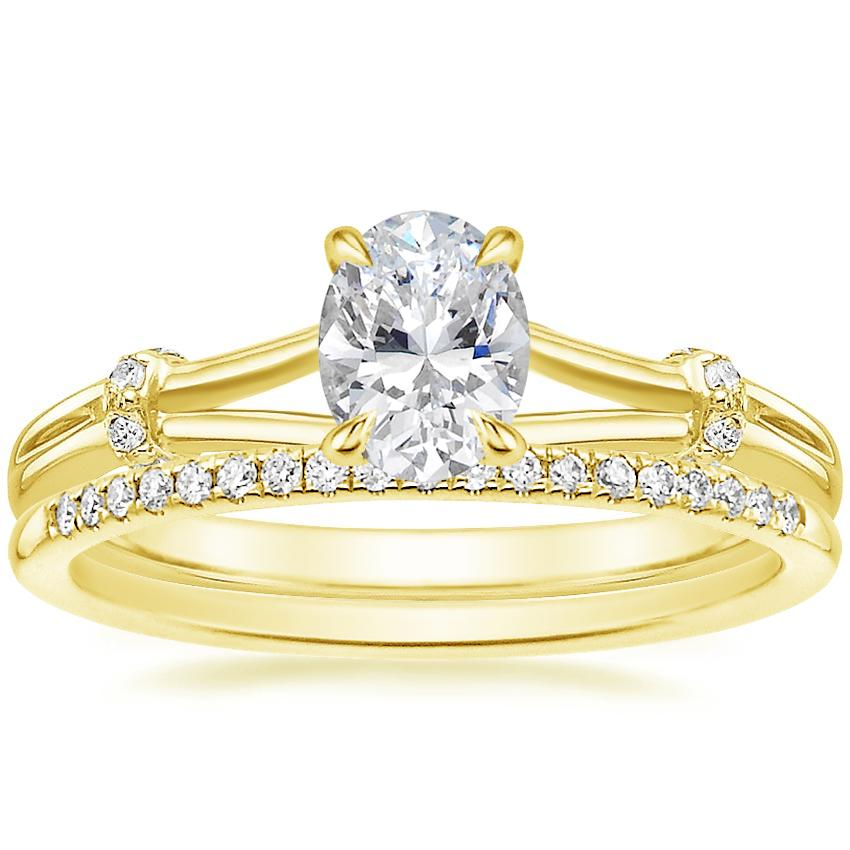 18K Yellow Gold Odelia Diamond Ring with Whisper Diamond Ring (1/10 ct. tw.)