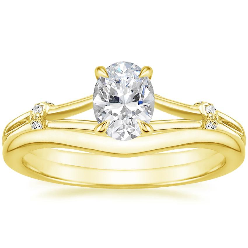 18K Yellow Gold Odelia Diamond Ring with Petite Curved Wedding Ring