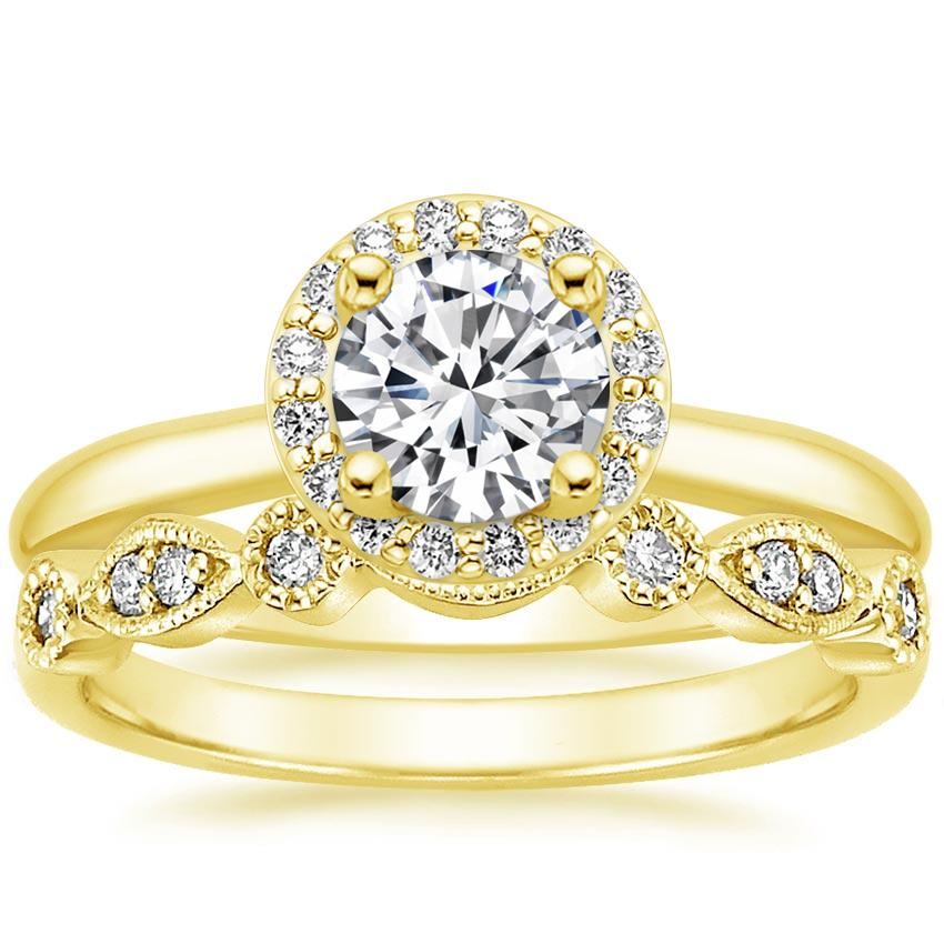 18K Yellow Gold Halo Diamond Ring (1/6 ct. tw.) with Tiara Diamond Ring (1/10 ct. tw.)
