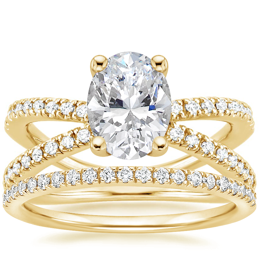 18K Yellow Gold Bisou Diamond Ring (1/3 ct. tw.) with Ballad Diamond Ring (1/6 ct. tw.)