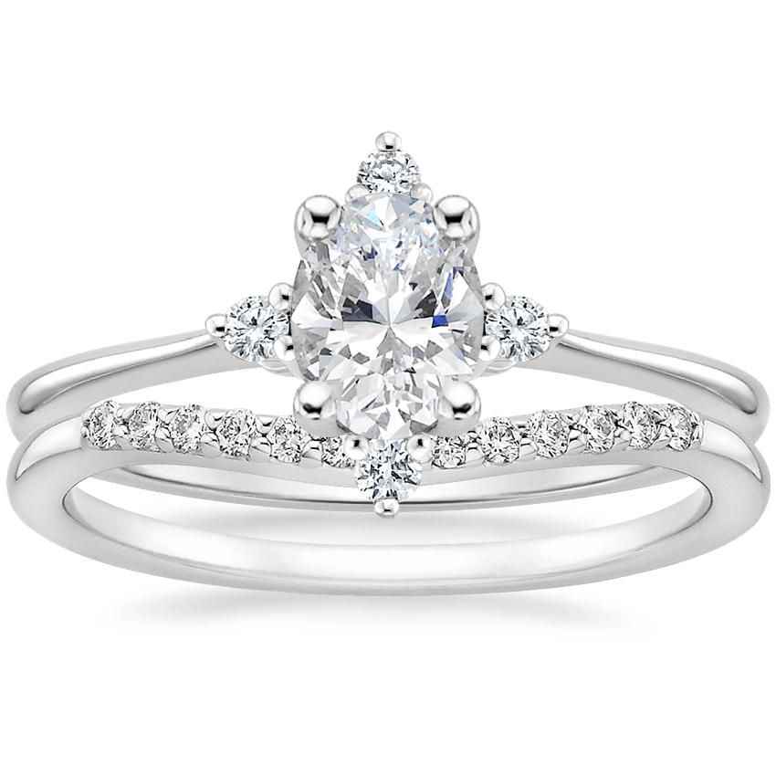 18K White Gold Luminesce Diamond Ring with Petite Curved Diamond Ring (1/10 ct. tw.)