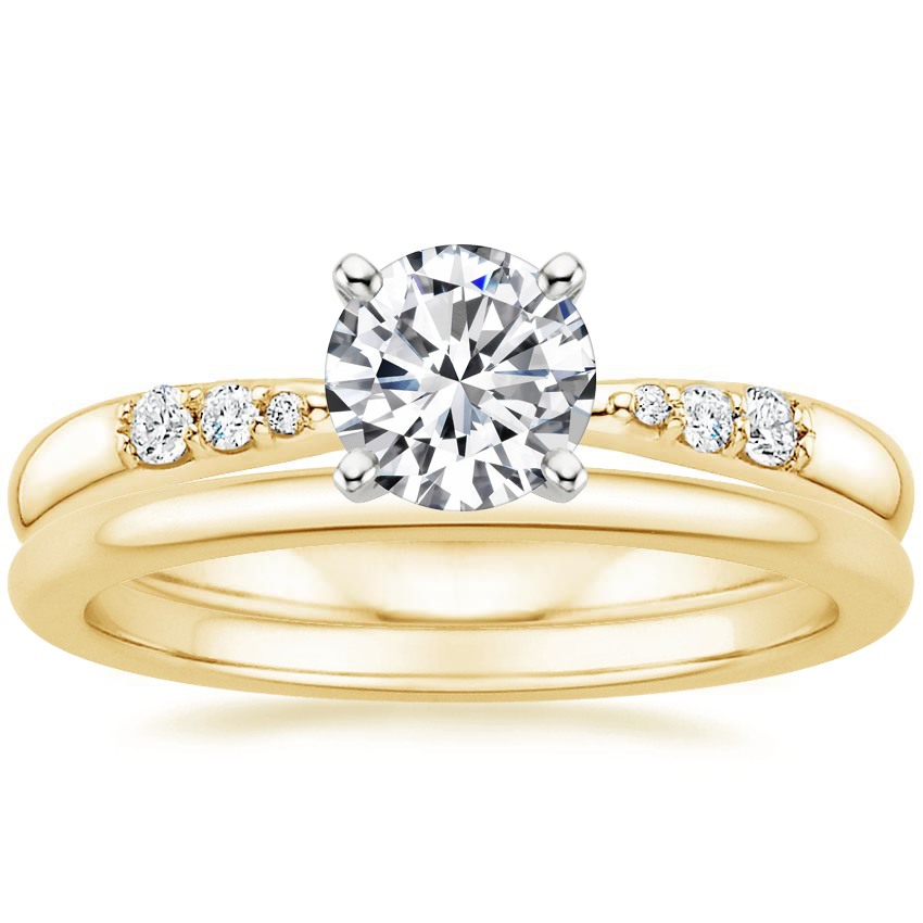 18K Yellow Gold Lark Diamond Ring with Petite Comfort Fit Wedding Ring
