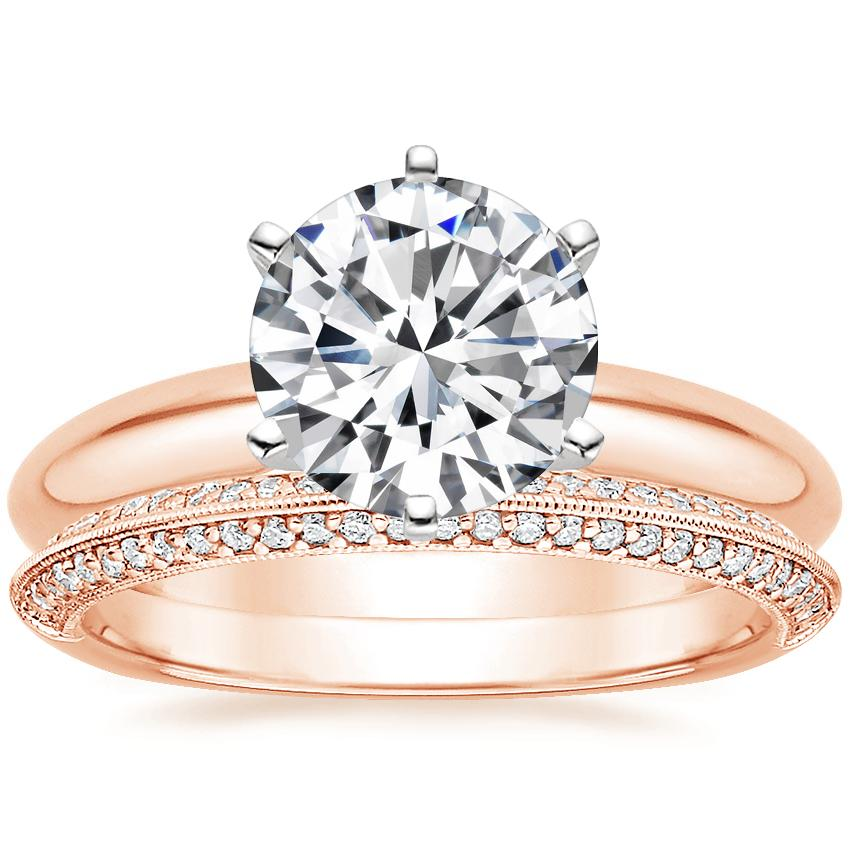 14K Rose Gold Six-Prong Classic Ring with Callista Diamond Ring