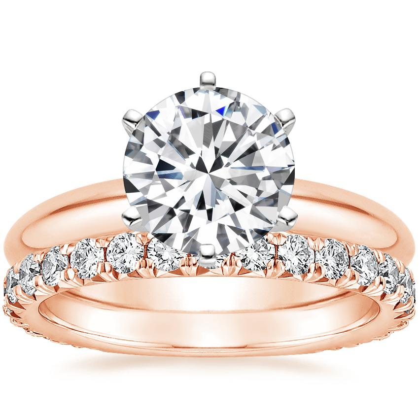 14K Rose Gold Six-Prong Classic Ring with Luxe Sienna Diamond Ring (5/8 ct. tw.)