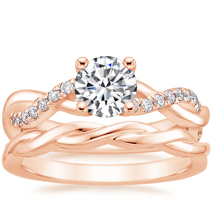 14K Rose Gold Braided Vine Diamond Ring (1/4 ct. tw.) with Twisted Vine Ring