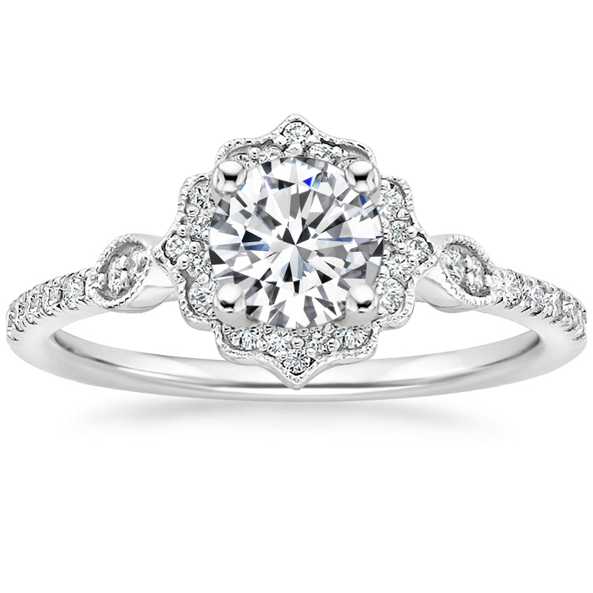 Round Vintage Inspired Halo Engagement Ring