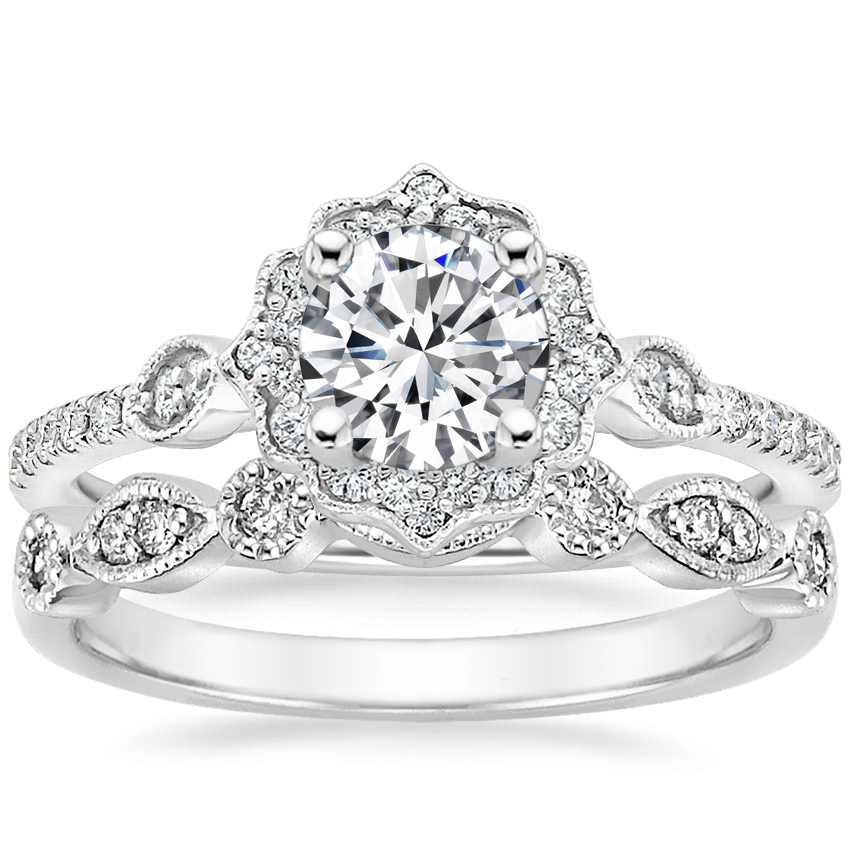Platinum Cordelia Diamond Ring (1/4 ct. tw.) with Tiara Diamond Ring (1/10 ct. tw.)