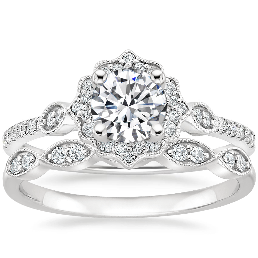 18K White Gold Cordelia Diamond Ring (1/4 ct. tw.) with Cadenza Diamond Ring (1/10 ct. tw.)