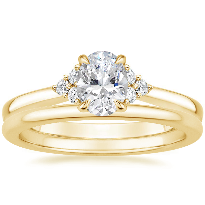 18K Yellow Gold Melody Diamond Ring with Petite Comfort Fit Wedding Ring