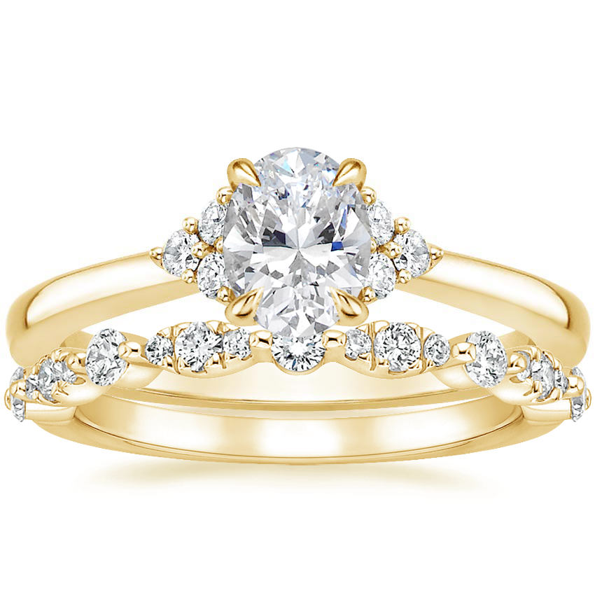 18K Yellow Gold Melody Diamond Ring with Odette Diamond Ring (1/4 ct. tw.)